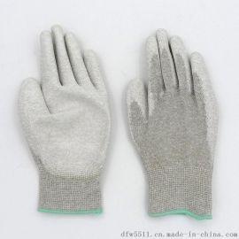 碳纤维PU涂掌手套 PU涂层涂胶手套 涂指13针尼龙浸胶手套耐磨防滑