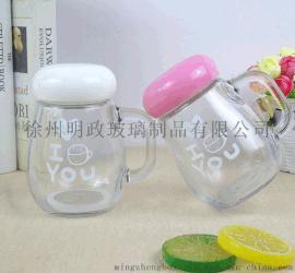 辦公室帶蓋水杯創意透明花茶杯便攜可愛定制泡茶玻璃杯廠家直銷