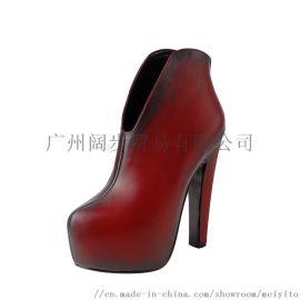 中国风美意图防水台高跟短靴粗跟裸靴粗跟短筒靴