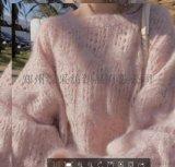 毛衣女少女味很仙的洋氣套頭鏤空圓領寬鬆針織衫