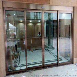 佛山自動感應門,304不鏽鋼玫瑰金感應門