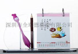 深圳有机玻璃亚克力台历日历带笔筒名片盒可丝印LOGO量大从优