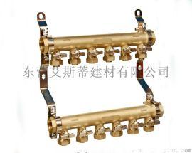 山东地暖分集水器批发零售、一体锻造铜分水器精品