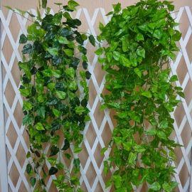 仿真花植物壁挂  家居田园装饰绿叶壁挂花艺 藤蔓工艺花批发定制