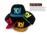 韩国男女士YO!字母新潮版豹纹拼色嘻哈街舞平沿鸭舌、棒球帽子