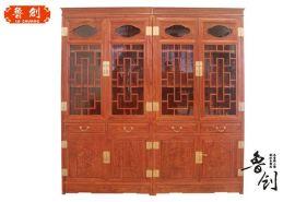 红木家具 花梨木书房书柜 明清仿古中式实木书柜