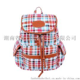 学院风双肩包女包抽绳格子系列旅行背包帆布包厂家直销
