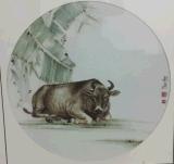 圓形生肖圖案瓷板畫批發價格定制書畫陶瓷瓷板畫訂做鑲嵌瓷板畫加工