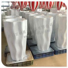 厂家订做组合简约玻璃钢花盆白色景观落地创意玻璃钢花盆