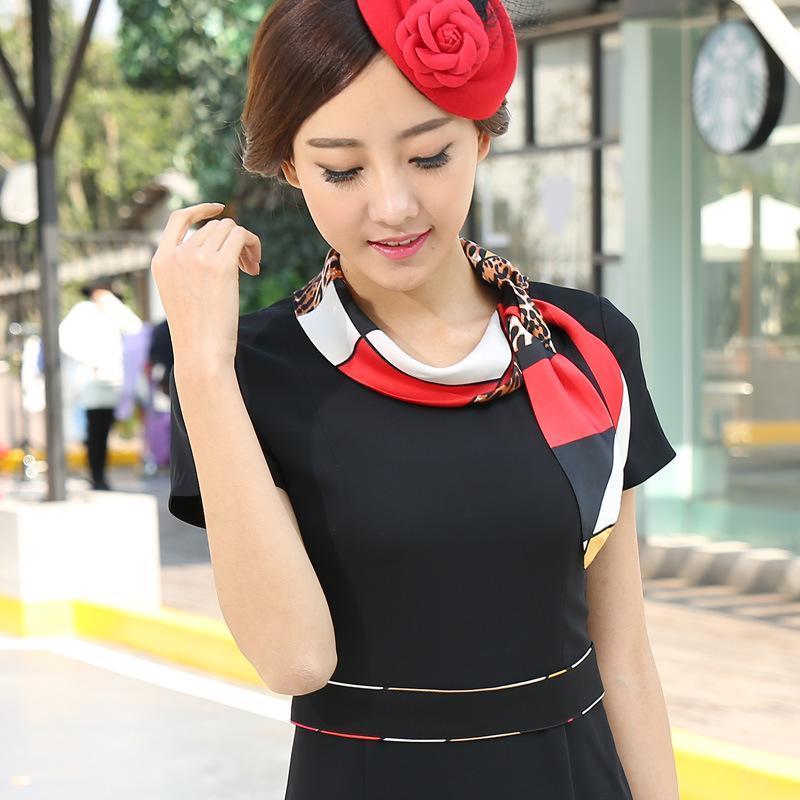 2017短袖连衣裙夏装修身ol气质小香风工作服职业装女装美容师拼接