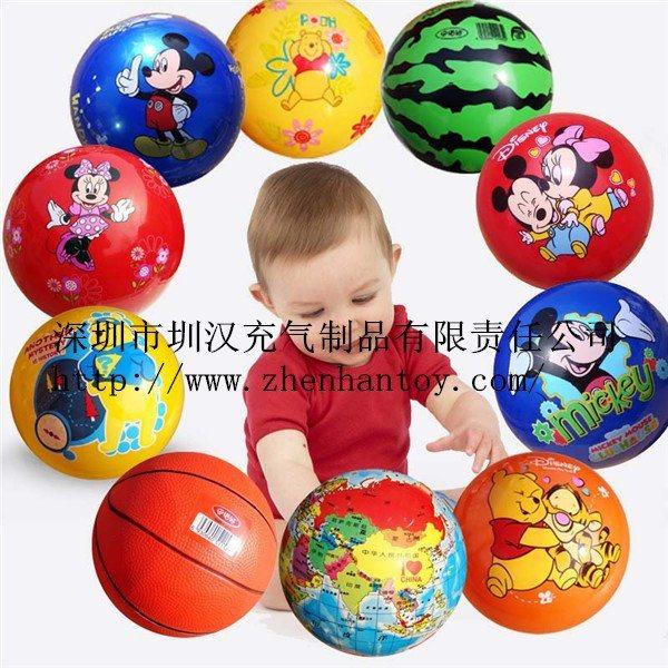 专业生产直径40cm彩色丝印环保6P-pvc充气多款式卡通充气沙滩球