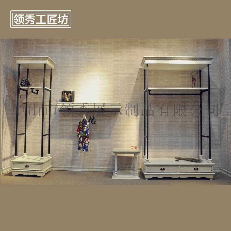 服裝店做舊展示架 高檔落地掛架 女裝靠牆側掛展示架鐵藝烤漆
