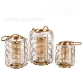 美式輕奢金色古銅色玻璃燈籠金屬燭臺裝飾歐式北歐樣板房間擺件