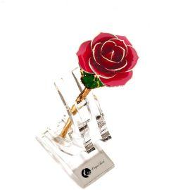 黛雅创意礼品 24K金箔玫瑰花 橘红色 家居摆件 馈赠佳品 厂家批发