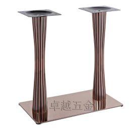 玫瑰金小蛮腰台脚  不锈钢长方形双柱台脚 餐台脚 桌脚mc-07