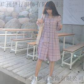 羽纱国际格子廊女装折扣批发 杭州品牌服装尾货批发市场 尾货连衣裙