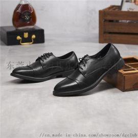 新款商務皮鞋真皮尖頭英倫男鞋頭層牛皮繫帶單鞋