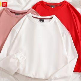 薄款純色棉圓領衛衣男女落肩袖寬鬆上衣打底衫長袖T恤情侶裝定制