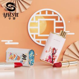 彩妆新款6色双管口红管包材圆形 中国风双管一体润唇膏管弹簧按压