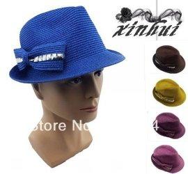新款时尚促销帽蝴蝶结涤纶帽女士小礼帽 草帽(XH021)
