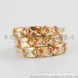 东莞盛意 外贸饰品真金电镀水晶戒指欧美时尚合金首饰开发定制