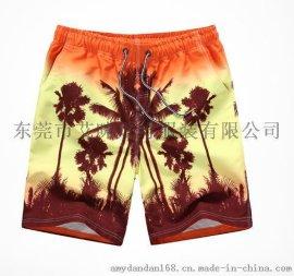 夏季韩版大码速干桃皮绒男士沙滩裤五分裤外贸运动印花