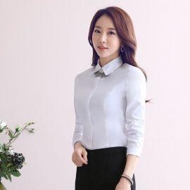 廠家秋季新款女士正裝修身長袖襯衣大碼ol時尚白色打底衫職業襯衫