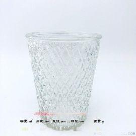 玻璃燭臺 菱形雕刻 玻璃燭臺杯 蠟燭杯