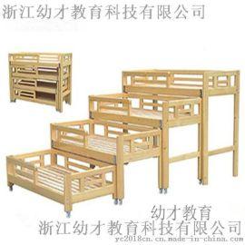 厂家直销幼儿园儿童实木四层推拉床