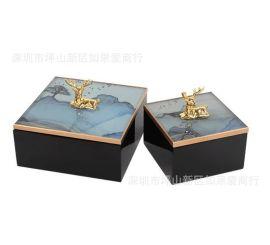 不锈钢金属金色方形木制玻璃鹿头小鸟首饰收纳盒样板间摆件欧式
