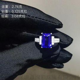 3.08克拉八角长方形坦桑石戒指颜色浓郁
