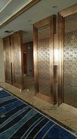 供应酒店现代家庭客厅玄关折叠玫瑰金不锈钢镂空屏风