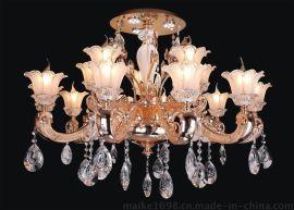 千佰立欧式水晶蜡烛灯客厅吸顶灯LED灯6621/10+5