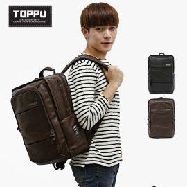 韩国情侣双肩背包旅行包潮牌高中生大学生书包休闲软皮男双肩包