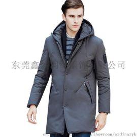 新款男式中长款可脱帽加厚休闲羽绒服
