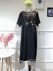 米谷儿棉麻均码大版女装复古刺绣连衣裙品牌折扣女装