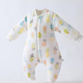 宝宝纱布夹棉睡袋 婴儿棉连体衣 新生儿纱布防踢被