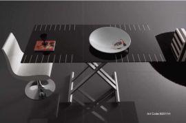 自动升降多功能可拉伸收玻璃餐桌(B2011H)