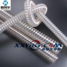 耐磨pu钢丝通风吸尘软管, 印刷机风管工业除尘集尘吸尘软管45mm