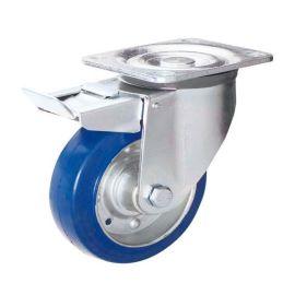 蓝色滚珠轴承重载脚轮 钢芯弹力胶轮 镀白锌支架