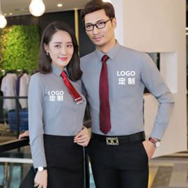 外资私企工作服免烫平纹衬衣男女同款职业装长袖衬衫银行工服