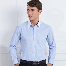 白领蓝色细条纹男士长袖衬衫西装寸衫商务职业正装工作衬衣服批发
