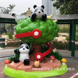 玻璃钢卡通主题雕塑 室内商场美陈装饰熊猫雕塑 厂家直销定制