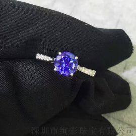 绚彩珠宝 18K金伴钻圆形坦桑石戒指 简单时尚款
