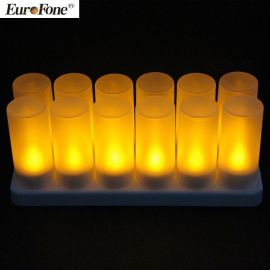 12充可充电LED电子蜡烛灯 ,温馨黄光仿真茶烛