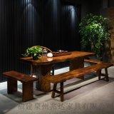 新中式茶几整块自然边复古实木餐桌会议桌大板茶桌