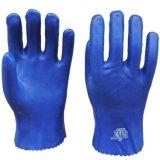 順興廠家直銷 pvc 浸膠手套 耐磨 防滑手套 藍色砂面耐酸鹼28cm