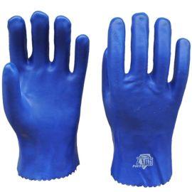 顺兴厂家直销 pvc 浸胶手套 耐磨 防滑手套 蓝色砂面耐酸碱28cm
