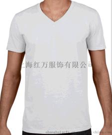 厂家直销V领T恤供应 定制 工作服V领T恤加工