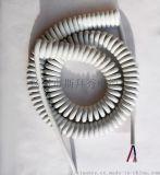 斯拜秀【醫療設備PVC/PU環保彈簧線生產】3芯0.3平方白色螺旋電纜廠家,PE彈簧線